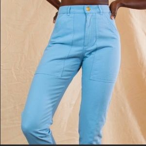Baby Blue Bug Bud Press Work Pants- XL
